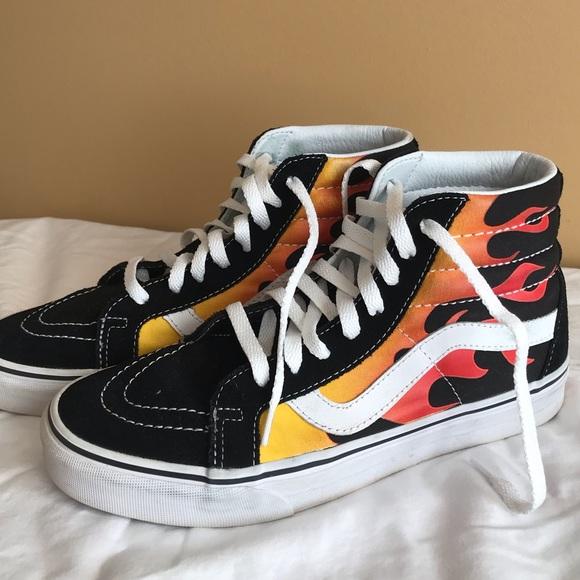 Vans Shoes | Vans Flame Hightop | Poshmark